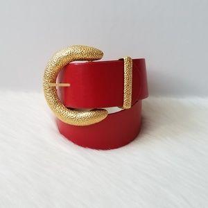 St. John Vintage Lipstick Red Leather & Gold Belt